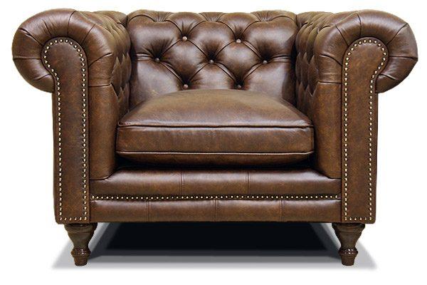 кожаное кресло честерфилд на ножках