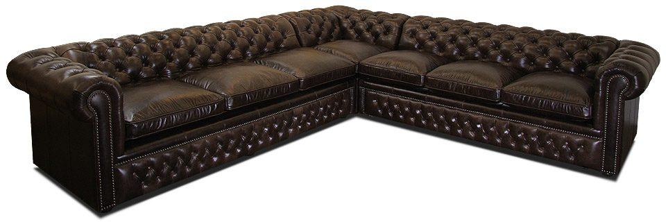 угловой кожаный диван честер со спальным местом