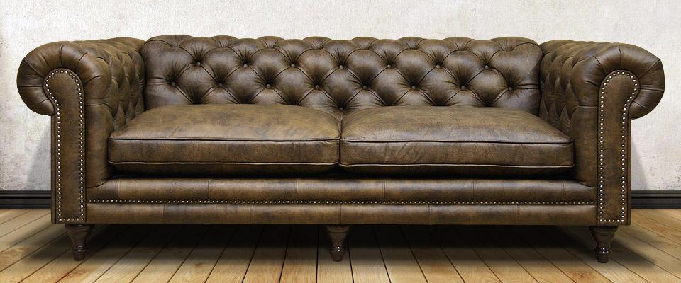 двухместный кожаный диван в классическом стиле на ножках