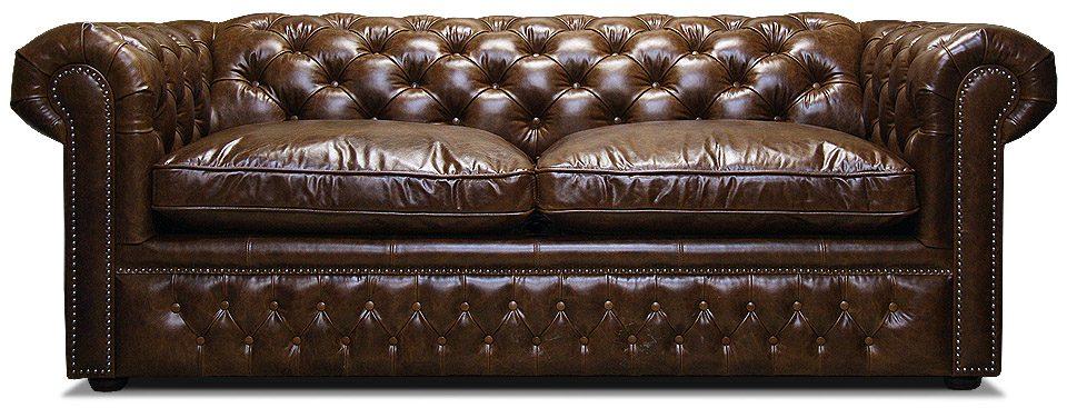 кожаный классический диван честер с механизмом трансформации