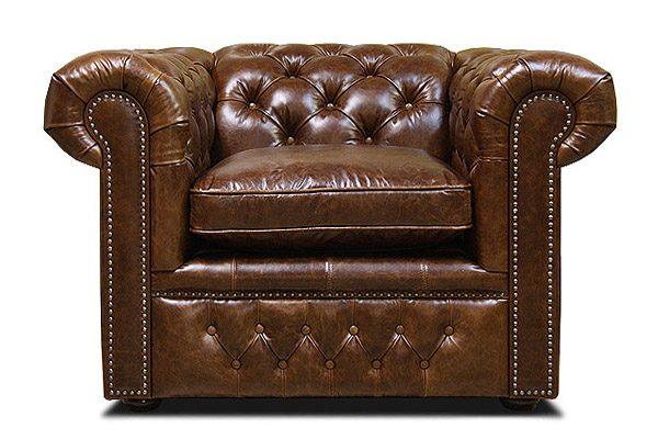 кожаное кресло в стиле честер