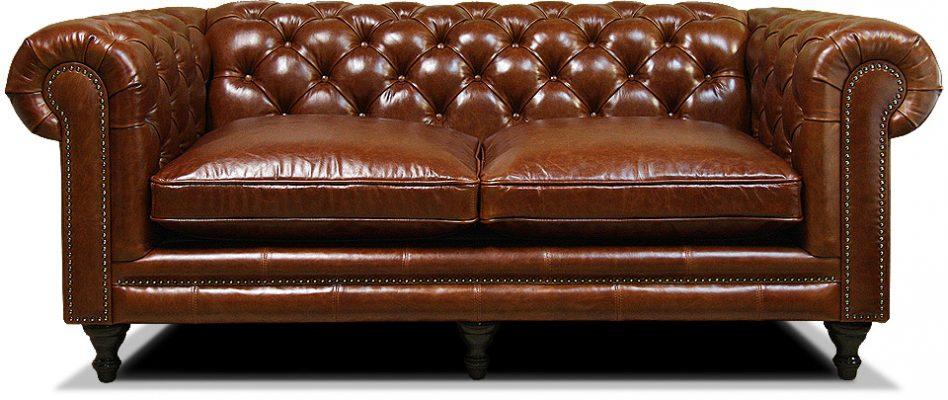 светло-коричневый классический диван честер на ножках