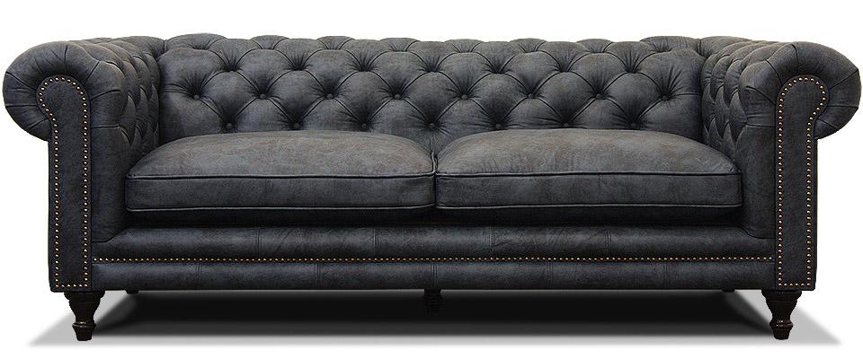 синий диван честер на ножках