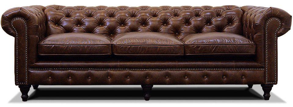 трехместный классический кожаный диван честер на ножках