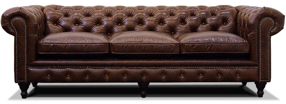 трехместный кожаный диван честер на ножках