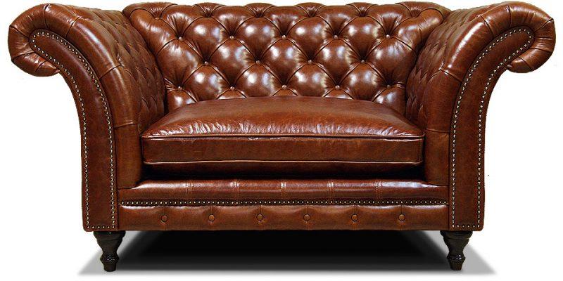 полуторный кожаный диван честер в классическом стиле