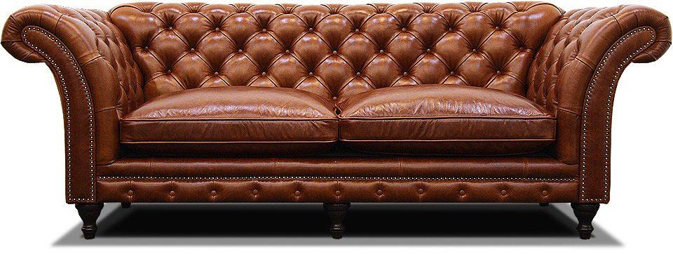 двухместный классический диван из натуральной кожи на ножках