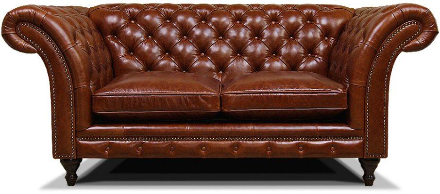 классический двухместный диван из кожи на ножках