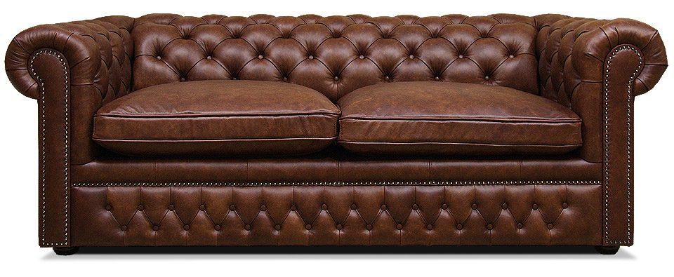 двухместный классический кожаный диван с механизмом трансформации