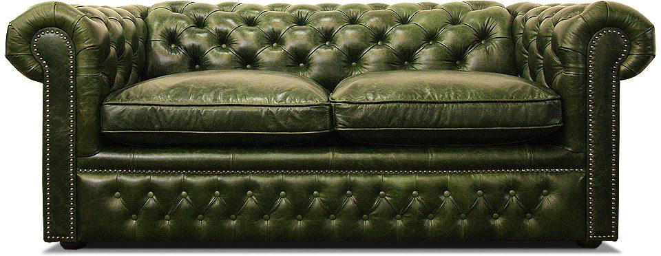 зеленый кожаный диван честер