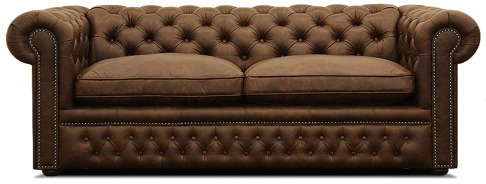 классический кожаный диван честер со спальным местом