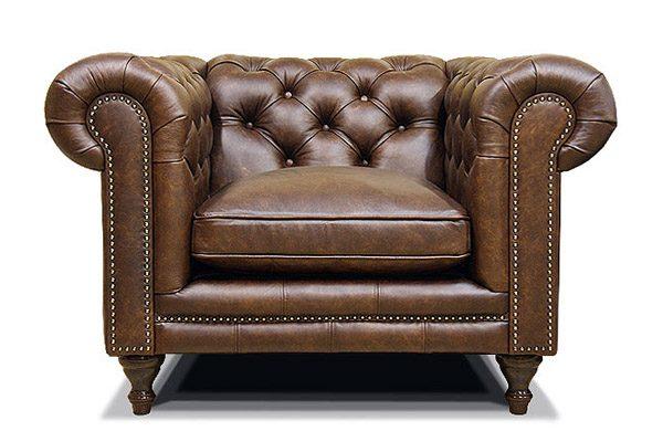 кожаное кресло честер на ножках