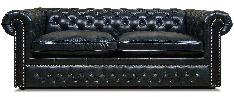 двухместный синий кожаный диван честер раскладной