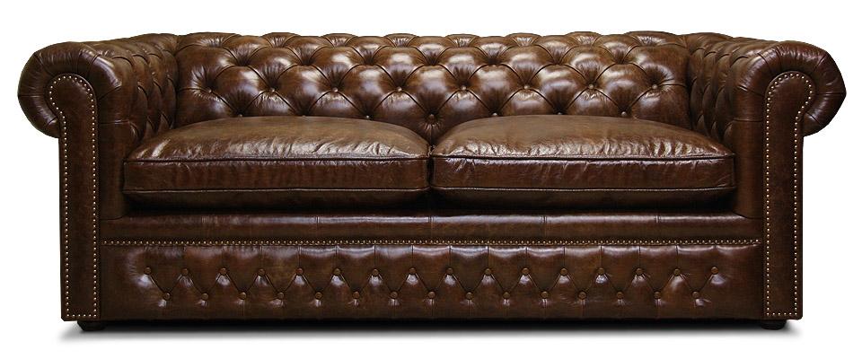 кожаный классический диван со спальным местом