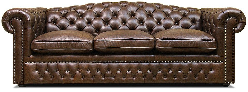 трехместный кожаный диван в классическом стиле