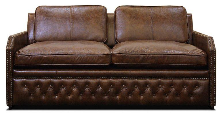 малогабаритный кожаный мини диван со спальным местом