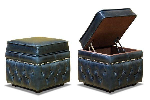 синий кожаный пуфик с внутренним ящиком