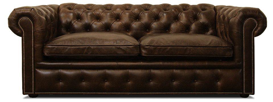 темно-коричневый кожаный диван честер с механизмом трансформации