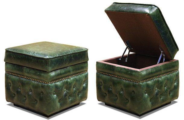 кожаный пуфик с внутренним ящиком с стиле честер