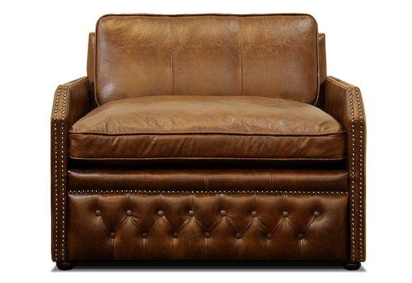 полуторный кожаный мини диван со спальным местом