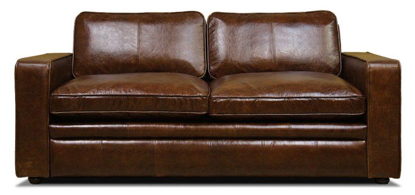 двухместный кожаный диван со спальным местом