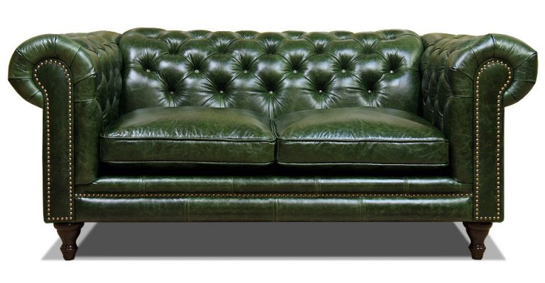 зеленый двухместный кожаный диван честер на ножках