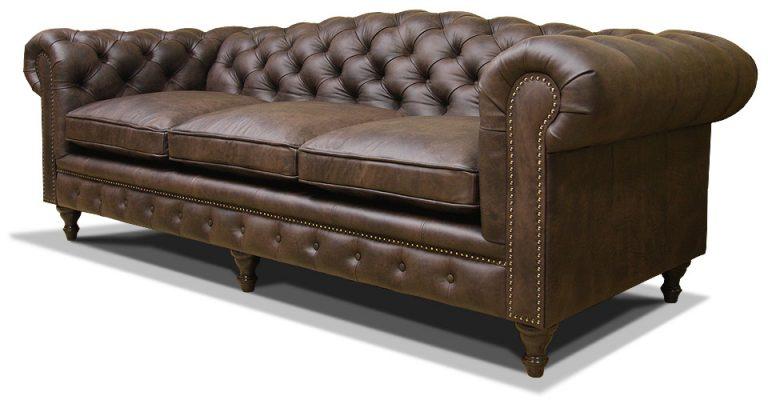 трехместный кожаный диван честер на ножках с увеличенной спинкой