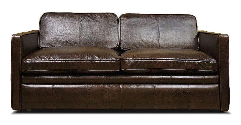 двухместный раскладной кожаный диван с узкими подлокотниками