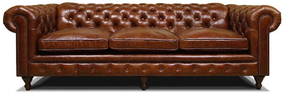 классический коричневый трехместный диван честер на ножках