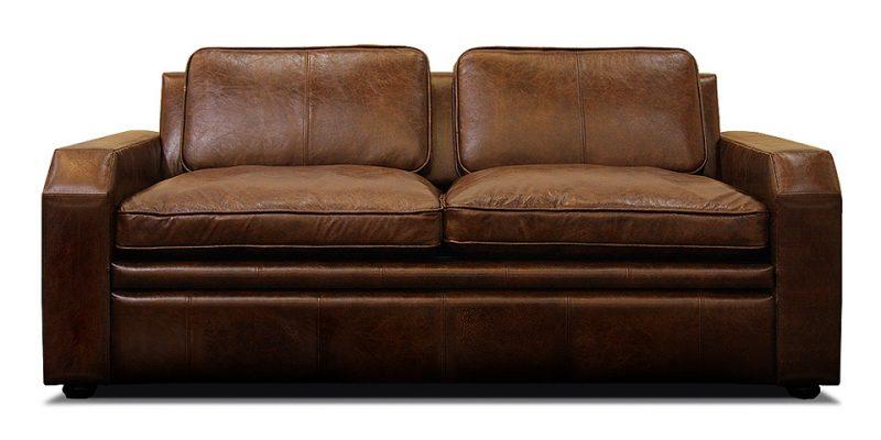 раскладной кожаный диван в стиле минимализм