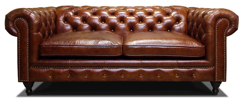двухместный классический кожаный диван на ножках