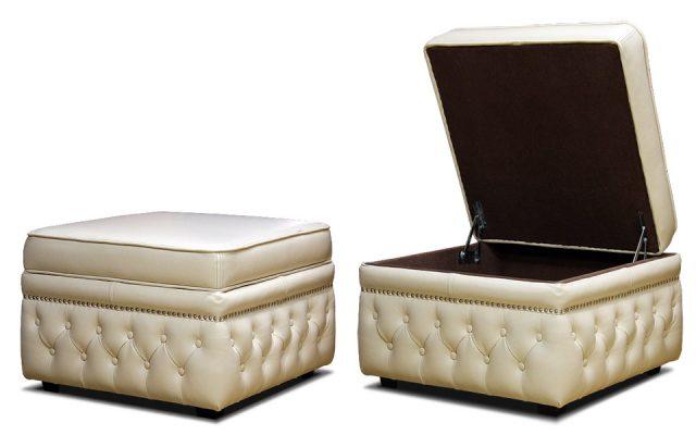 белый кожаный пуфик с внутренним ящиком с каретной стяжкой
