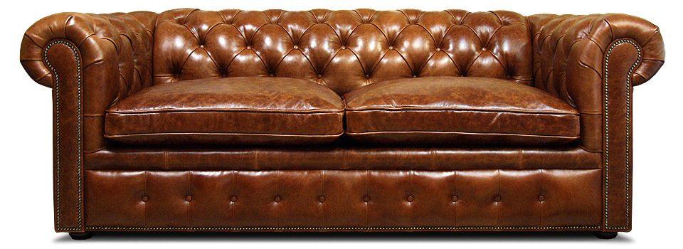 светло-коричневый кожаный диван честер с механизмом трансформации