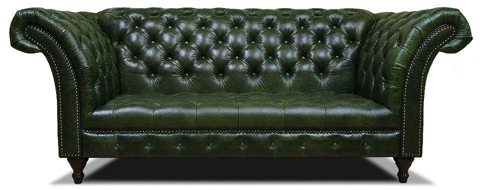 зеленый кожаный диван честер на ножках