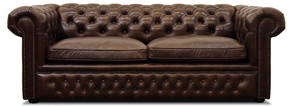 коричневый кожаный диван честер с механизмом трансформации