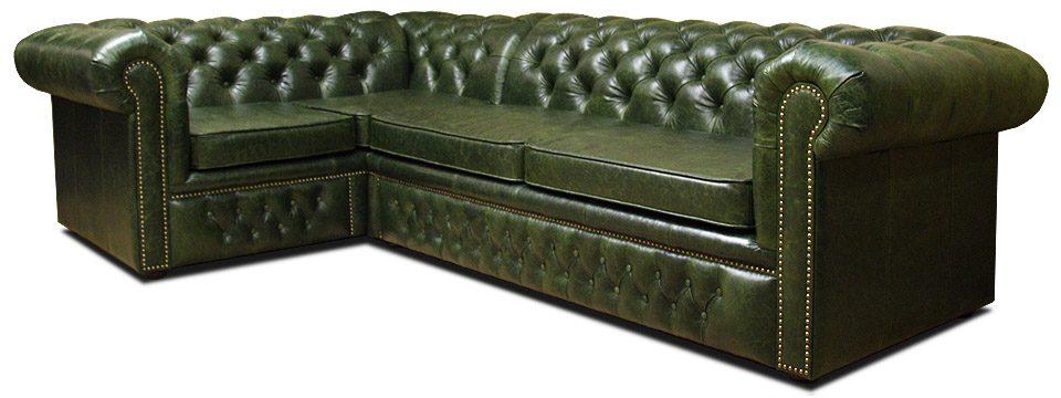 зеленый угловой кожаный диван честер