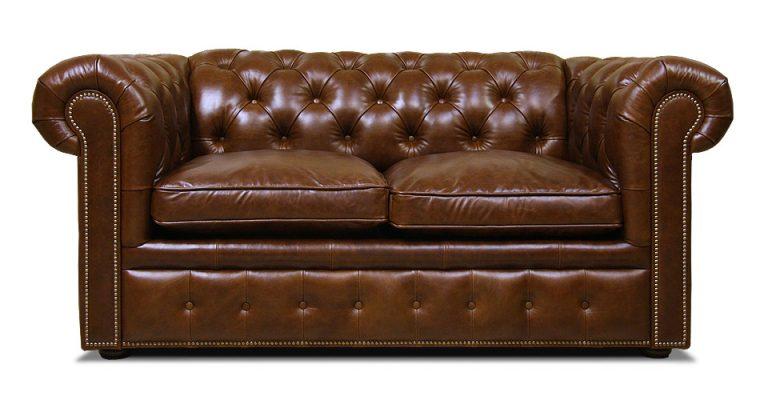 двухместный кожаный диван честер раскладной