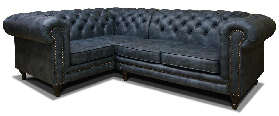 синий угловой диван честер на ножках